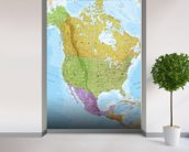 Political North America Map mural wallpaper in-room view