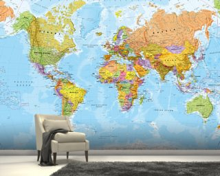 World map wallpaper wall murals wallsauce europe political world map gumiabroncs