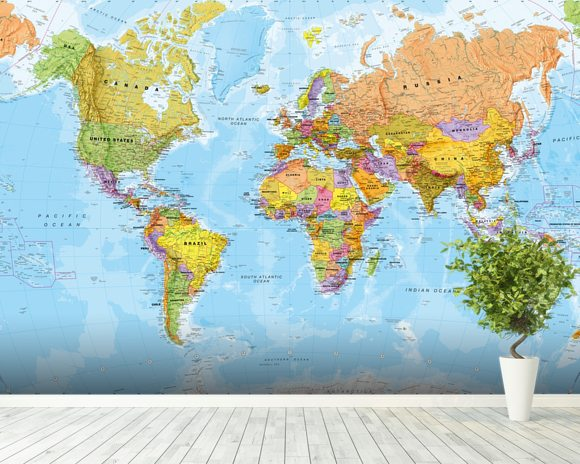 Political world map wall mural world map wallpaper wallsauce political world map wall mural room setting gumiabroncs Images