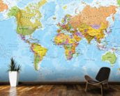 World Map Wall Paper political world map wall mural & world map wallpaper | wallsauce
