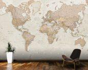 Antique World Map Wallpaper Mural Kitchen Preview