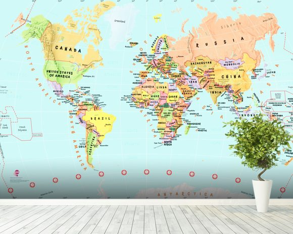 Childrens World Map wallpaper mural room setting