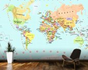 Childrens World Map wallpaper mural kitchen preview