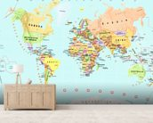 Childrens World Map wallpaper mural living room preview