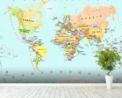 Childrens World Map wallpaper mural in-room view