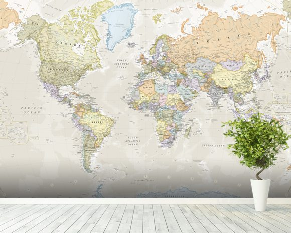 Classic world map wall mural classic world map wallpaper classic world map mural wallpaper room setting gumiabroncs Image collections