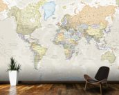 Classic World Map mural wallpaper kitchen preview