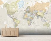 Classic World Map mural wallpaper living room preview