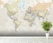 Classic World Map mural wallpaper in-room view