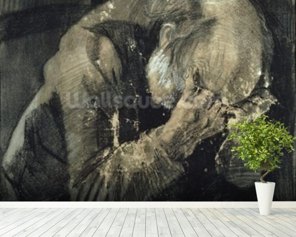 Man with his head in his hands (pencil on paper) mural wallpaper room setting