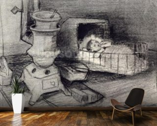 Cradle (pencil on paper) wall mural