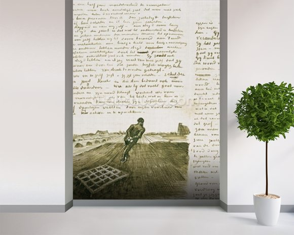 Man pulling a harrow (pen & ink on paper) wallpaper mural room setting