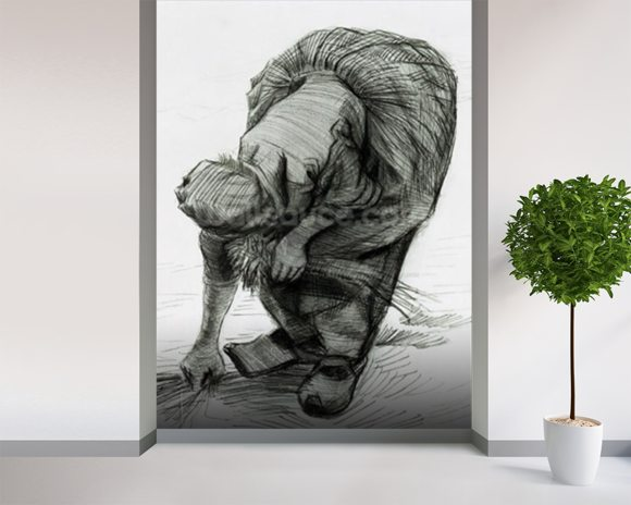 Peasant Woman Gleaning, 1885 (black chalk on paper) mural wallpaper room setting