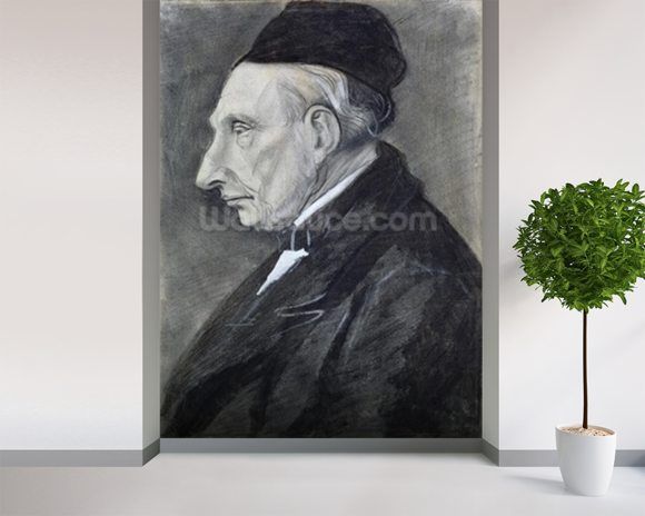 Portrait of the Artists Grandfather, 1881 (charcoal on paper) wall mural room setting