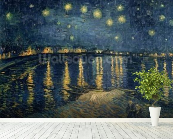 Starry Night over the Rhone, 1888 (oil on canvas) wall mural room setting