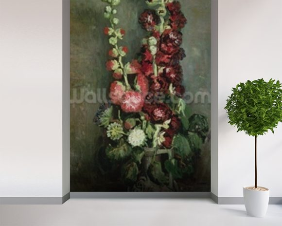 Vase of Hollyhocks, 1886 (oil on canvas) wall mural room setting