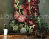 Vase of Hollyhocks, 1886 (oil on canvas) wall mural kitchen preview