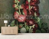 Vase of Hollyhocks, 1886 (oil on canvas) wall mural living room preview