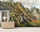 Thatched Cottages in Chaponval, Auvers-sur-Oise, 1890 (oil on canvas) wallpaper mural living room preview