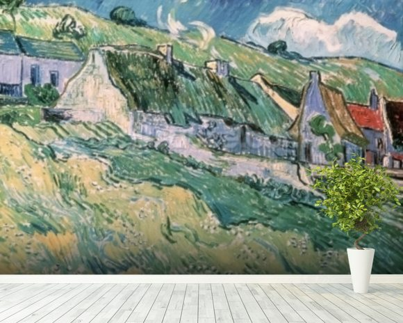 Cottages at Auvers-sur-Oise, 1890 (oil on canvas) mural wallpaper room setting
