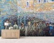 The Exercise Yard, or The Convict Prison, 1890 (oil on canvas) wall mural living room preview