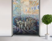 The Exercise Yard, or The Convict Prison, 1890 (oil on canvas) wall mural in-room view
