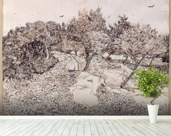 The Olive Trees (pen & ink on paper) mural wallpaper room setting