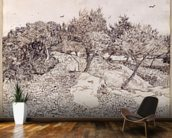 The Olive Trees (pen & ink on paper) mural wallpaper kitchen preview