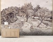 The Olive Trees (pen & ink on paper) mural wallpaper living room preview