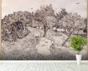 The Olive Trees (pen & ink on paper) mural wallpaper in-room view