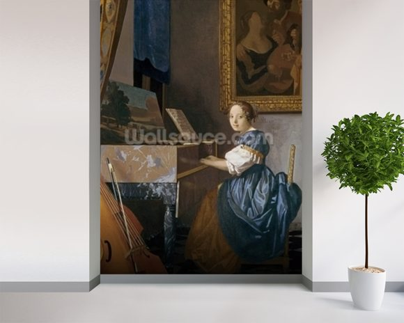 A Young Lady Seated at a Virginal, c.1670 (oil on canvas) wallpaper mural room setting