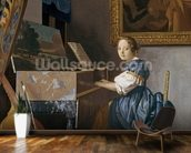 A Young Lady Seated at a Virginal, c.1670 (oil on canvas) wallpaper mural kitchen preview