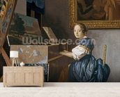 A Young Lady Seated at a Virginal, c.1670 (oil on canvas) wallpaper mural living room preview