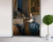A Young Lady Seated at a Virginal, c.1670 (oil on canvas) wallpaper mural in-room view