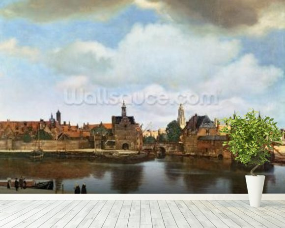 View of Delft, c.1660-61 (oil on canvas) wall mural room setting