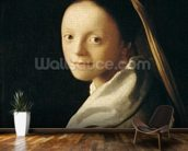 Portrait of a Young Woman, c.1663-65 (oil on canvas) wallpaper mural kitchen preview