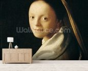 Portrait of a Young Woman, c.1663-65 (oil on canvas) wallpaper mural living room preview