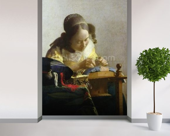 The Lacemaker, 1669-70 (oil on canvas) wallpaper mural room setting