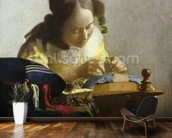 The Lacemaker, 1669-70 (oil on canvas) wallpaper mural kitchen preview