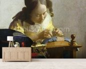 The Lacemaker, 1669-70 (oil on canvas) wallpaper mural living room preview