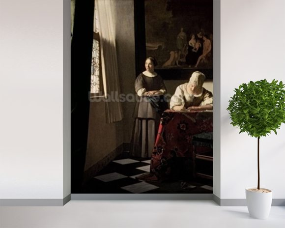 Lady writing a letter with her Maid, c.1670 (oil on canvas) mural wallpaper room setting