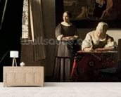 Lady writing a letter with her Maid, c.1670 (oil on canvas) mural wallpaper living room preview