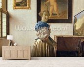 A Young Woman Standing at a Virginal, c.1670-72 (oil on canvas) wall mural living room preview