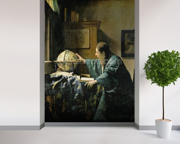 The Astronomer, 1668 (oil on canvas) wallpaper mural room setting