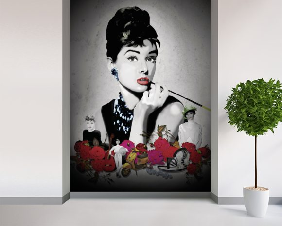 Audrey - Black wall mural room setting