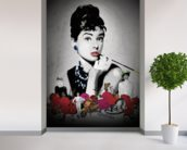 Audrey - Black wall mural in-room view