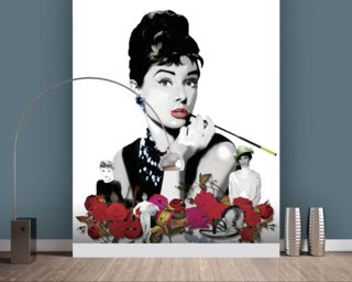 Audrey - White Wall Mural Wallpaper Wall Murals Wallpaper