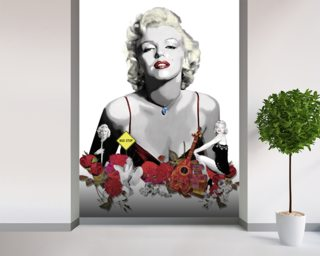 Marilyn Monroe - White Wallpaper Mural Wall Murals Wallpaper