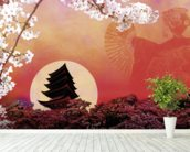 Rising Sun wall mural in-room view
