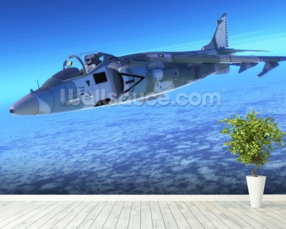 Supersonic Fighter Jet mural wallpaper room setting